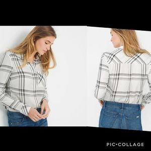 White house black market windowpane plaid blouse